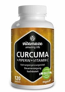 Turmeric + Curcumin High-dose piperine + Vitamin C in capsules, 120 vegan capsules, German quality product!