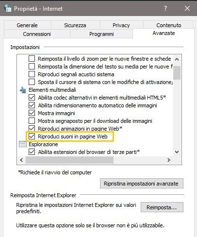 Audio Chrome non funziona - Proprietà internet