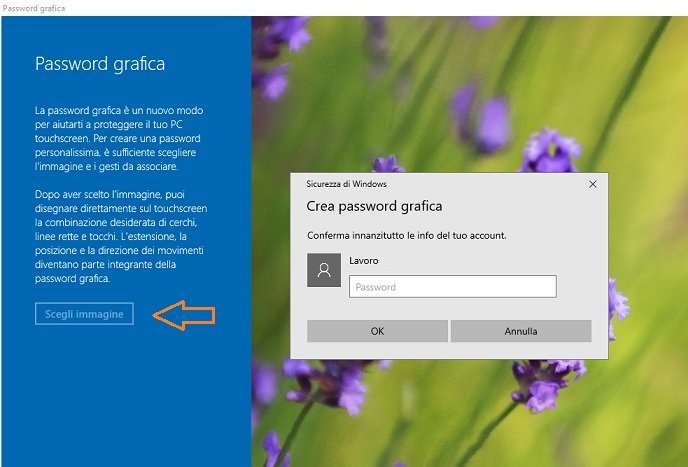 Mettere la password su Windows 10 - Password grafica
